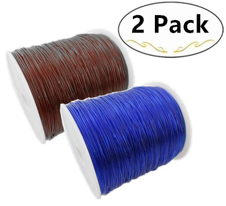 2 Roll Elastic Stretch Polyester Cords, Carnatory Elastic Beading Threads Jewelry Bracelet Making String Stretchy Polyester Cord for Bracelets and Crafts(Coffee&Blue)