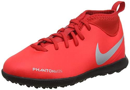 Nike Jr Phantom Vsn Club DF TF, Zapatillas de Fútbol Unisex Niños, Multicolor (Bright Crimson/Metallic Silver 600), 27 EU