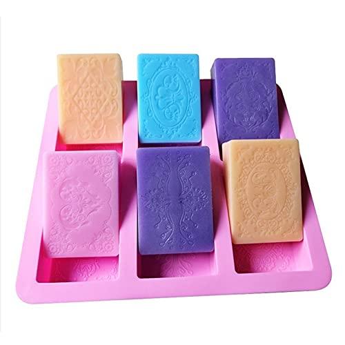 PPuujia Jabón molde 6 cavidad rectangular molde de jabón de silicona hecho a mano fabricación de jabón 3D llano europeo molde bandeja molde
