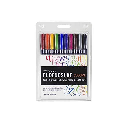 Tombow 56429 Fudenosuke Color Brush Pen, 10-Pack. Hard Tip Fudenosuke Brush Pens in Assorted Colors for Calligraphy and Art Drawings