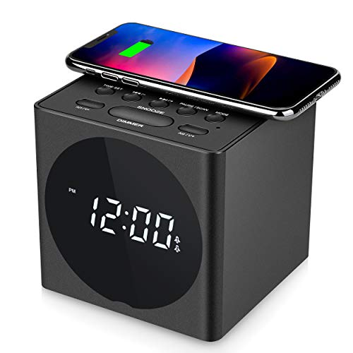 SVINZ Wireless Charging Dual Alarm Clock Radio with Bluetooth Speaker Compatible iPhone X, LED Display Dimmable Clock with USB Charger Port for Bedrooms, Loud Alarm for Heavy Sleepers, Snooze, Aux-in