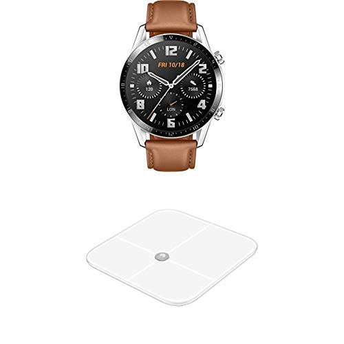 HUAWEI Watch GT 2 Smartwatch (46mm, OLED Touch-Display, Fitness Uhr mit Herzfrequenz-Messung u.v.m, 5ATM wasserdicht) pebble brown, Exklusives Bundle mit Huawei Body Fat Scale AH100