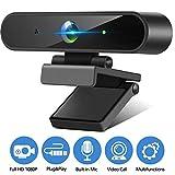 Isincer Webcam PC con Microfono, HD 1080P Webcam para Portatil/Ordenador/Mac USB 2.0 cámara Web Plug and Play para Skype, PC/Mac/Laptop/Tablet