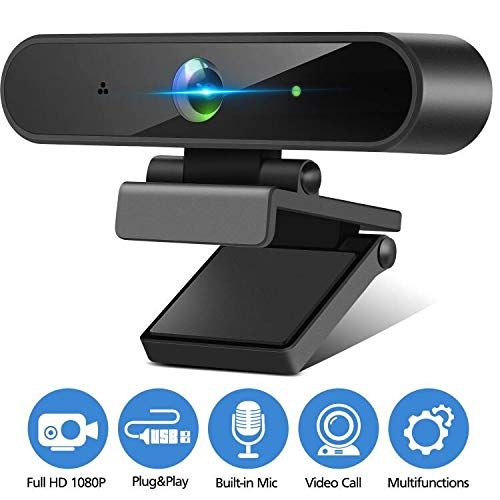 Isincer Full HD 1080P Streaming Webcam with Mikrofon für PC, Laptop, Mac, Plug-and-Play Webcam USB mit Autofokus und Weitwinkel