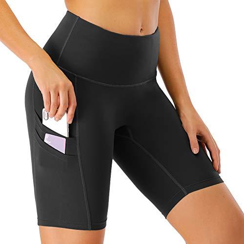 scicent Sporthose Damen Kurz Leggins Schwarz Sportleggings Tights High Waist Yogahose Laufhos mit Taschen für Frauen L