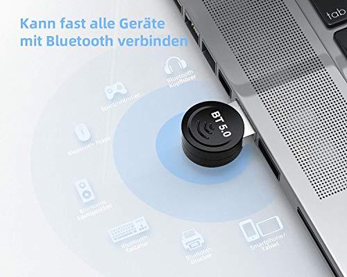 Aoyool Bluetooth Adapter 5.0, USB Audio Bluetooth WiFi Dongle Stick, Bluetooth Transmitter Sender Empfänger für PC Desktop, Laptop, Drucker, Headset, Lautsprecher (Plug & Play)