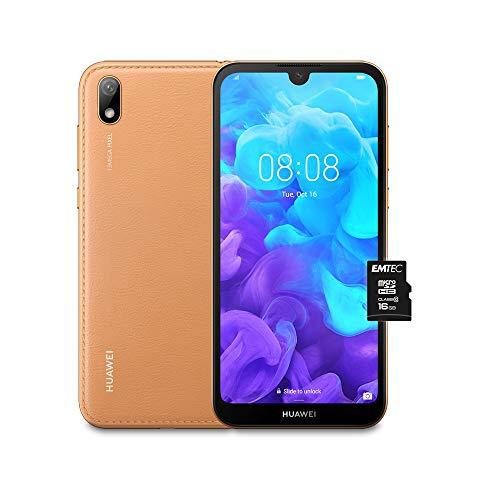 """HUAWEI Y5 2019 e MicroSDHC 16 GB Class 10, Smartphone con 16 GB, Display 5.71"""" HD+, Processore Quad Core, Marrone [Versione Italiana]"""