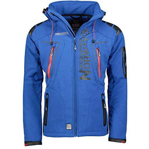 Geographical Norway Techno Softshelljacke Herren Kapuze abnehmbar, Royal, M