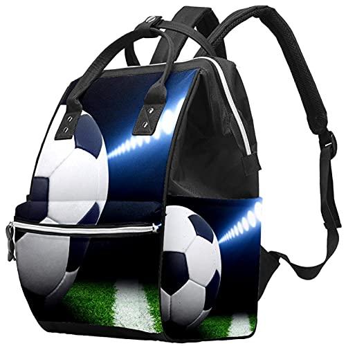 WJJSXKA Mochilas Bolsa de pañales Laptop Notebook Mochila de viaje Senderismo Daypack para Mujeres Hombres - Iluminación de campo de fútbol