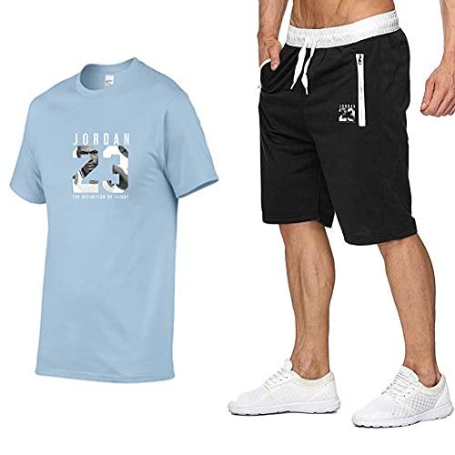 FZYQY Conjuntos de Pantalones Cortos para Hombre Ropa de Dormir de algodón para Verano Jordan 32 Conjunto de Jogging Inferior para Ejercicio Fitness Ocio al Aire Libre/A/XXXL