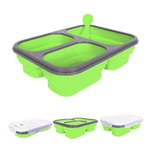 SJWR Opbergdoos voor levensmiddelen, opvouwbaar, siliconen, lunchbox, met deksel, voor magnetron, koelkast en vriezer, vaatwasmachinebestendig, Bento-box voor kinderen en volwassenen