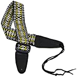 Performance Plus Guitar Strap, GS3-YP Woven Tapestry Hootenanny Flamingo Sunrise Includes Ties for Acoustic Guitars