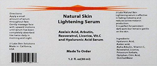 Natural Skin Lightening Serum with Azelaic Acid, Arbutin & Hyaluronic Acid (1.2oz)