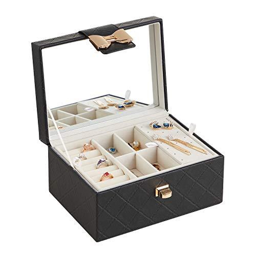 RIRO Organizador de joyas para mujeres y niñas, 2 capas de almacenamiento de joyas con cierre de nudo y espejo – Caja de joyería para collar y aretes anillo (Negro-1)