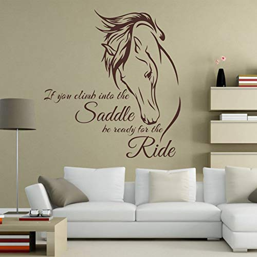 Animal sticker riding wall decal quote vinilo art cuando subas a la silla de montar prepárate para el paseo a caballo