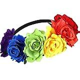 Diadema Floral de Arcoiris Diadema de Flor de Orgullo de Gay Tocado de Flores Corona de Flores para Mujer Fiesta de Vacaciones