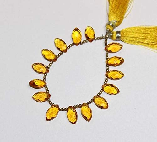 LKBEADS 14x7 mm Citrine Quartz Max 41% OFF Beads Faceted Purchase Briolettes Marquise