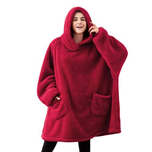 BEDSURE Decke mit Ärmel Pullover rot - Sweatshirt Decke zum Anziehen, Kuscheldecke mit Ärmeln, Erwachsene Ärmeldecke tragbar weich warm, Ganzkörperdecke als TV Decke