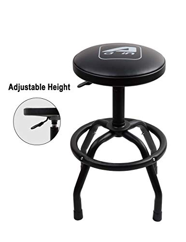 Aain LT013A Heavy Duty Adjustable Pneumatic Rolling Mechanic Shop Stool with Black, Garage Seat, Adjustable Height Swivel Shop Stool for Garger,Workshop and Auto Repair Shop