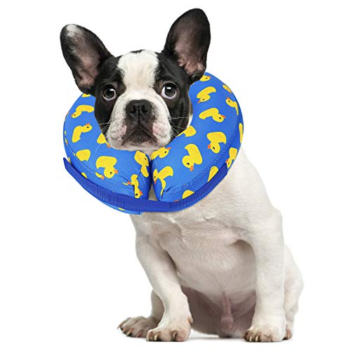 HDE Dog Cone Collar Soft Inflatable Dog Collars for After Surgery Recovery Donut (Rubber Duck, Small)