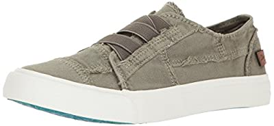 Blowfish Malibu Women's Marley Fashion Sneaker, Steel Grey Color Washed Canvas, 6.5 Medium US