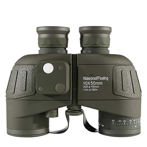 Binoculares Impermeables 10X50 HD con Brjula Binoculares Potentes Nuticos Verde