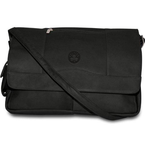 NBA Boston Celtics Black Leather Laptop Messenger Bag