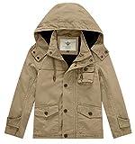 WenVen Boy's & Girl's Spring Cotton Active Hoodie Jacket, B-Khaki, 10-12Y