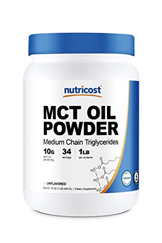 Nutricost MCT Oil Powder 1LB (16oz) - Great for Keto, Ketosis and Ketogenic Diets - Zero Net Carbs, Non-GMO + Gluten Free (Medium Chain Triglyceride)