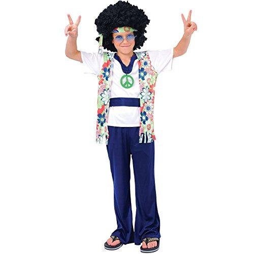 Hippie Peace man costume.Medium enfant de 5-7 ans. Chemise avec gilet attaché, ceinture, pantalon, médaillon et un bandeau. Hauteur 122-132 cm
