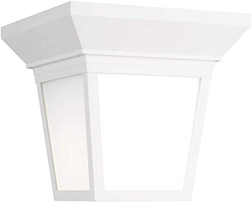"""lowest Sea Gull high quality 7546701EN3-15 Lavon Smooth wholesale White Glass LED Outdoor Lighting Ceiling Flush Mount, 1-Light 9.3 Watt, 7""""H x 7""""W, White outlet online sale"""