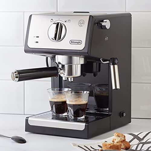 De'longhi ECP 33.21- Cafetera de Bomba Tradicional para Espresso y Cappuccino, para Café Molido y Monodosis, 2 Tazas Simultáneamente, Depósito de Agua de 1.1 l, 1100 W, Negro y Plata