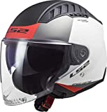 LS2 OF600 Copter Urbane Casco Jet Bianco opaco/Rosso