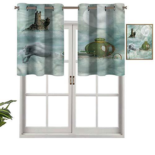 Hiiiman Cenefas de cortina opacas con aislamiento térmico y ojales cortos, diseño de unicornio en el carro de nubes, juego de 1, 132 x 45 cm para cocina y baño