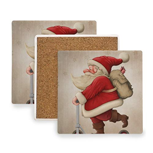 DEZIRO Kerstman en de Push Scooter Multi-Use Cup Mat Bescherm meubels tegen watermerken of schade zonder morsen, Warming Presents Decor 2 pieces set 1