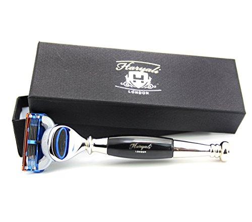 Rasoir de rasage Haryali London avec manche en acier noir - Le rasoir de sécurité est livré avec une boîte cadeau pour homme