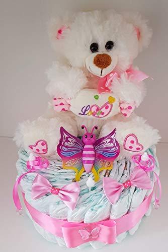 Windeltorte rosa XL für Mädchen, Geschenk zum Geburt, Taufe, Babyparty Mädchen, Windeln