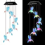 HiSolar Hummingbird Solar Wind Chime Color Changing Solar Mobile Light Waterproof LED Wind Chime Solar Powered Wind Mobile Colorful Light for Home Party Yard Garden Decoration(Blue)