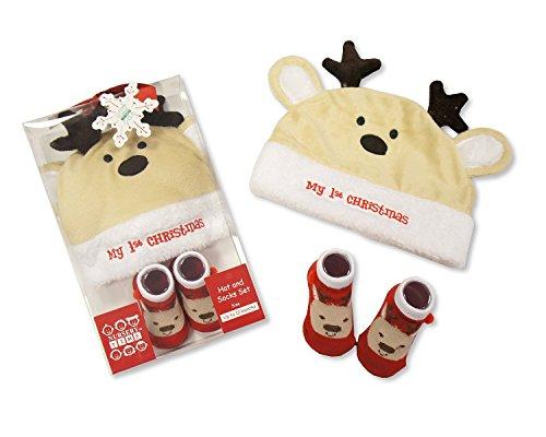 Renne Baby's First Christmas Chapeau et chaussettes Ensemble cadeau 0/12 mois dans une boîte