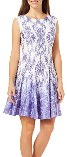 Gabby Skye Women's Chandelier Printed Fit and Flare Dress, Lavender/Ivory, 10