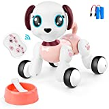 BAZOVE Remote Control Robot Dog Toy for Kids, RC Interactive Intelligent Walking Dancing Pet Robot Puppy with Lights & Sounds, Fun Smart Puppy Toys Gifts for 3 4 5 6 7+ Years Old Boys Girls (Pink)