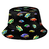 popluck Cichlid Fish Escuela Africana Cíclidos Acuario Guardianes Criadores Regalo Unisex Sombrero de Pescador Sombrero Sombrero Sombrero de Sol Plegable Impresión 3D Sombrero de Playa al Aire Libre