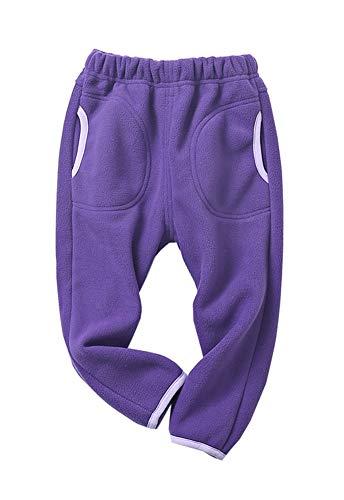 Kinder Fleece Hose Jungen Mädchen Herbst Winter Jogginghose Freizeithose Sweathose Sporthose (Lila, 110-115)