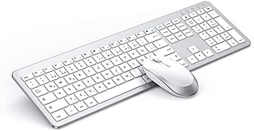 seenda Tastatur Maus Set Kabellos, Ultra-Dünne Wiederaufladbare Tastatur Maus Set, Ergonomische Tastatur Kabellos mit Silikon Staubschutz für PC/Laptop/Smart TV usw, Weiß und Silber