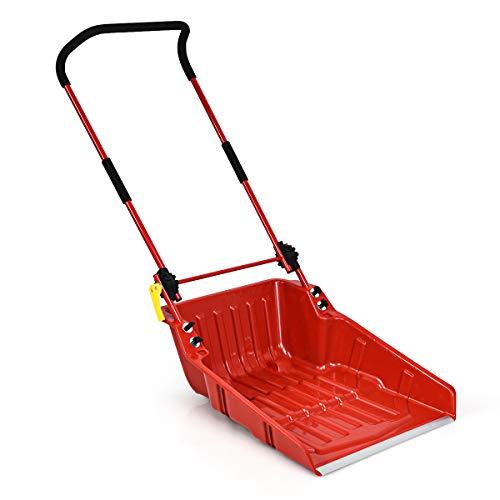 S AFSTAR Sleigh Shovel, Folding Snow Pusher Scoop with Wheels and Adjustable Ergonomic Handle, Efficient Snow Plowfor Walkways, Sidewalks