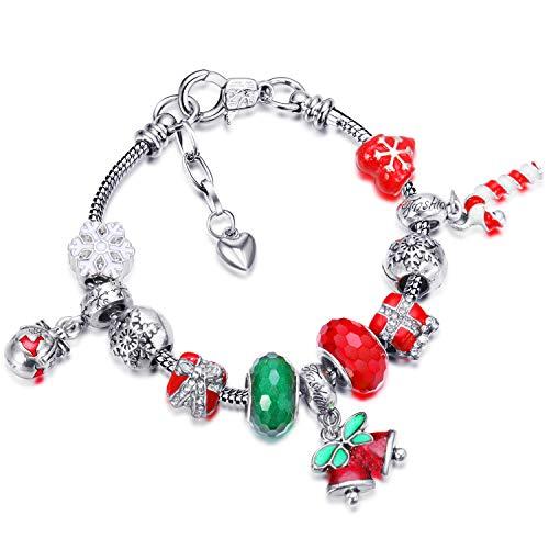 HICARER Natale Braccialetto Perline Ciondolo Charm Bracciale con Regalo Scatola Saluto Biglietto Regalo per Donna Signora (Campana di Natale)