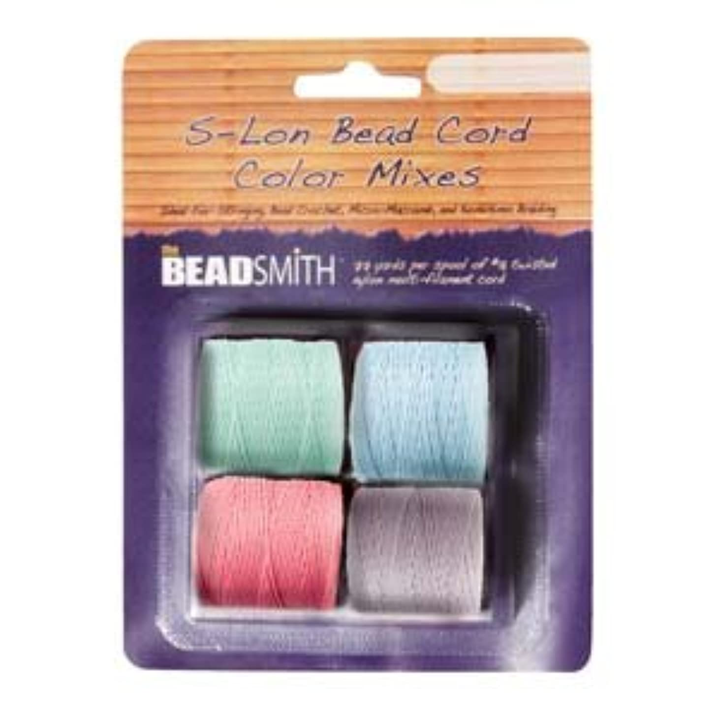 4 Spools Super-lon #18 Cord Ideal for Stringing Beading Crochet and Micro-macram Jewelry Compatible with Kumihimo Projects S-lon Pastels Mix