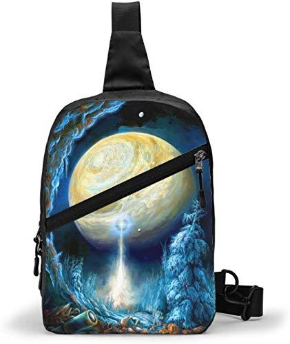 Fantastische Welt Planeten Sling Bag, Crossbody Schulter Brust Outdoor Wandern Reisen Persönliche Tasche für Damen Herren Wasserdicht
