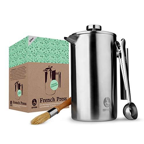 Coffeema® Premium French Press 1 Liter – Hochwertiger Kaffeebereiter – Inklusive Zubehör – Moderne Stahloptik (Edelstahl)