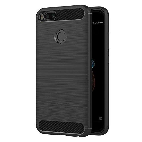 VGUARD Funda Xiaomi Mi A1, Negro Súper TPU Silicona Carcasa Fundas Protectora con Shock- Absorción y Diseño de Fibra de Carbon para Xiaomi Mi A1